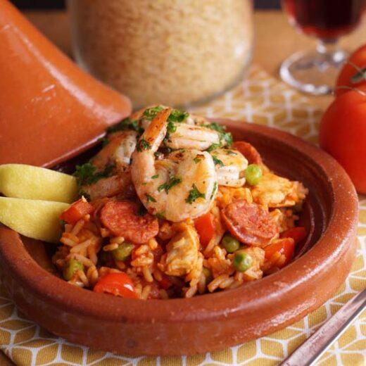 Rezept für Reispfanne a la Paella aus dem Slowcooker
