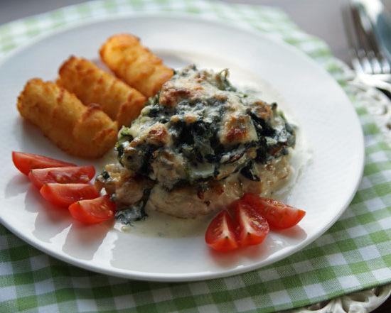 Hähnchenbrust mit Spinat und Gorgonzola