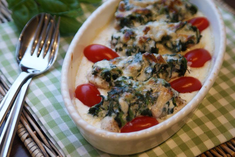 Huhn mit Spinat und Gorgonzola