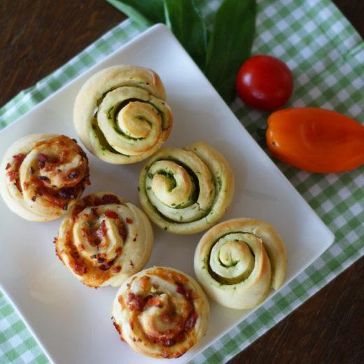 Pizza- und Bärlauch-Schnecken