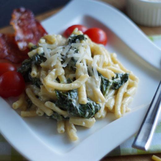 One Pot Pasta mit Spinat