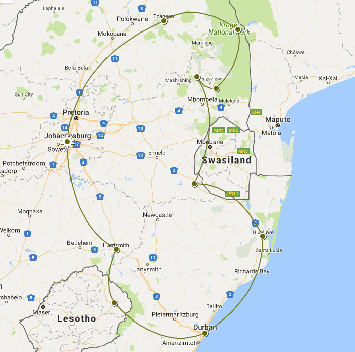 Reiseroute Südafrika