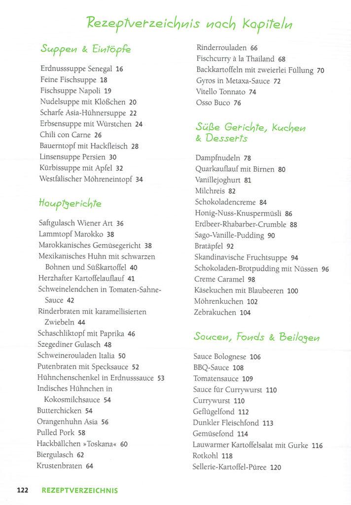 Inhaltsverzeichnis und Rezeptliste