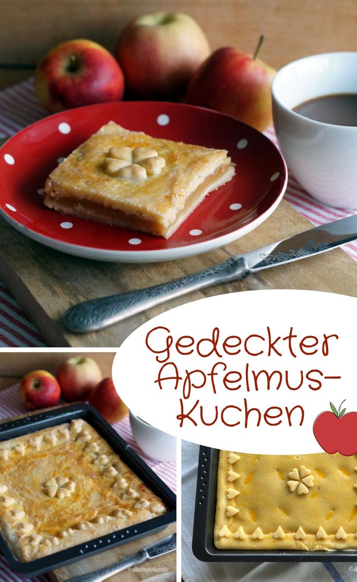 Gedeckter Apfelmus-Kuchen
