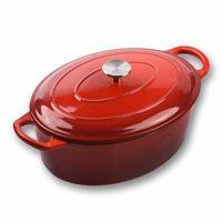 Küpfanche Gusseisen-Bräter, oval mit Deckel, 30 cm, 4,7 l in rot