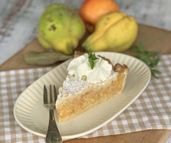 Rezept für schnellen herbstkuchen mit Quitte, Apfel und Birne
