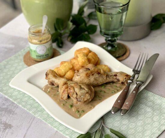 Slowcooker-Rezept für Hähnchenkeulen in Honig-Senf-Sauce